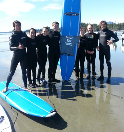 Surfing at Cox Bay with Pacific Surf School